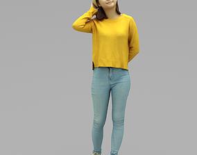 3D model A Young Woman Walking Along