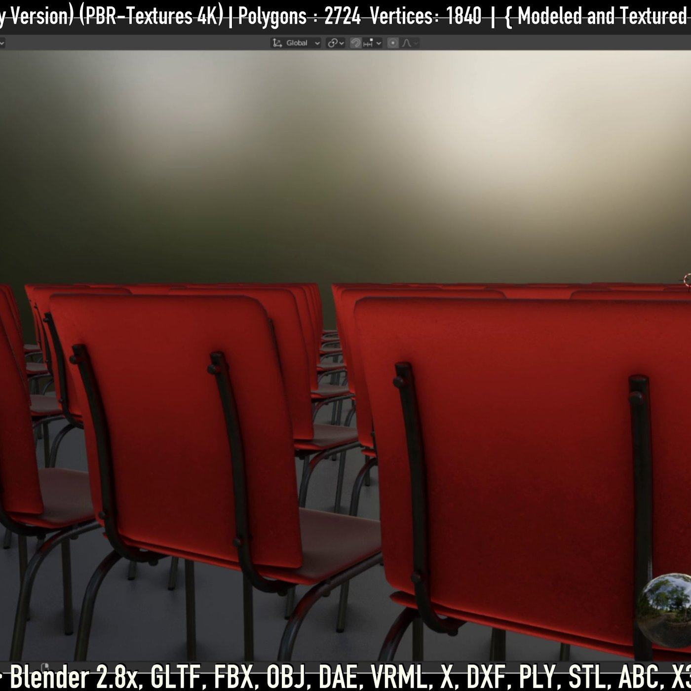 Red Plastic Chair (Low-Poly Version)