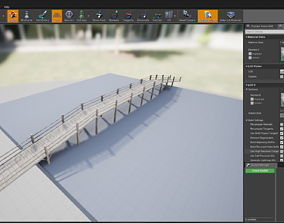 game-ready Wood bridge adapted for your games Low-poly 1