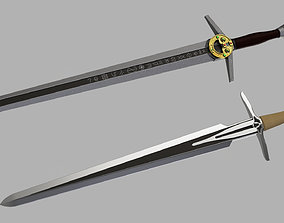 3D printable model Witcher steel and silver sword