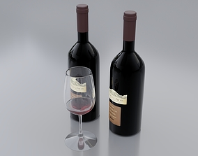 3D model PBR Wine bottle liquor