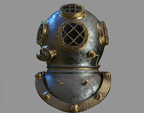3D Old Fashioned Diving Helmet