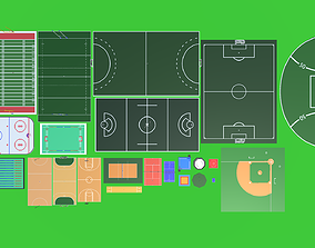 3D asset Low Poly Sports Pack
