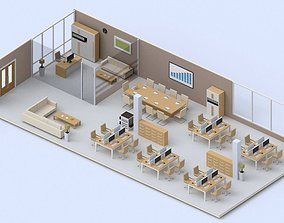 Low poly Office 3D asset