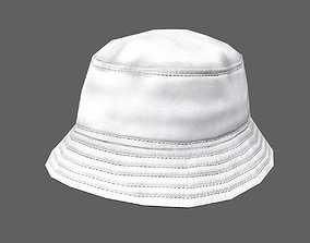 3D model game-ready Bucket hat - white
