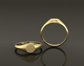 Dainty Thin Signet Ring Round Mix Size 3D printable model