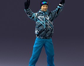 3D model Man in a bright suit on a snowboard 0300