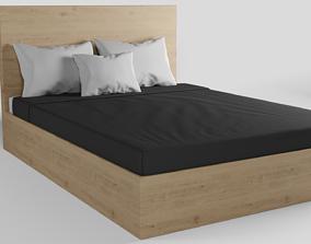 Wood Oak King Size Bed 3D asset VR / AR ready