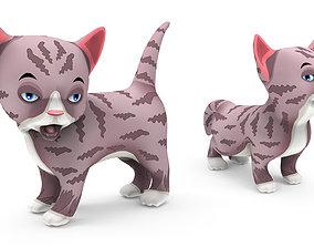 Cartoon Cute Pet Kitten Rigged 3D asset
