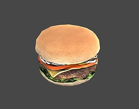 3D asset burger with meat and cheese