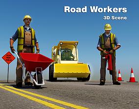 3D asset Road Workers Scene