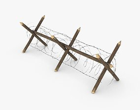 Barbed wire fence WWII 3D model low-poly
