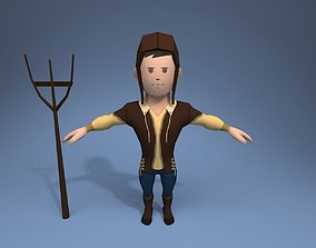 3D asset Medieval character peasant 3