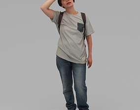3D A Middle-age Woman Wearing A Backpack