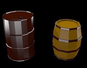 3D model Low poly Barrels