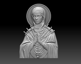 virgin mary 7 swords bas relief 3D print model