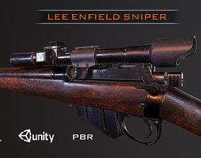Lee Enfield WW2 Sniper Rifle PBR 3D model