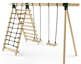 Double Seats Wooden Swing 7 3D
