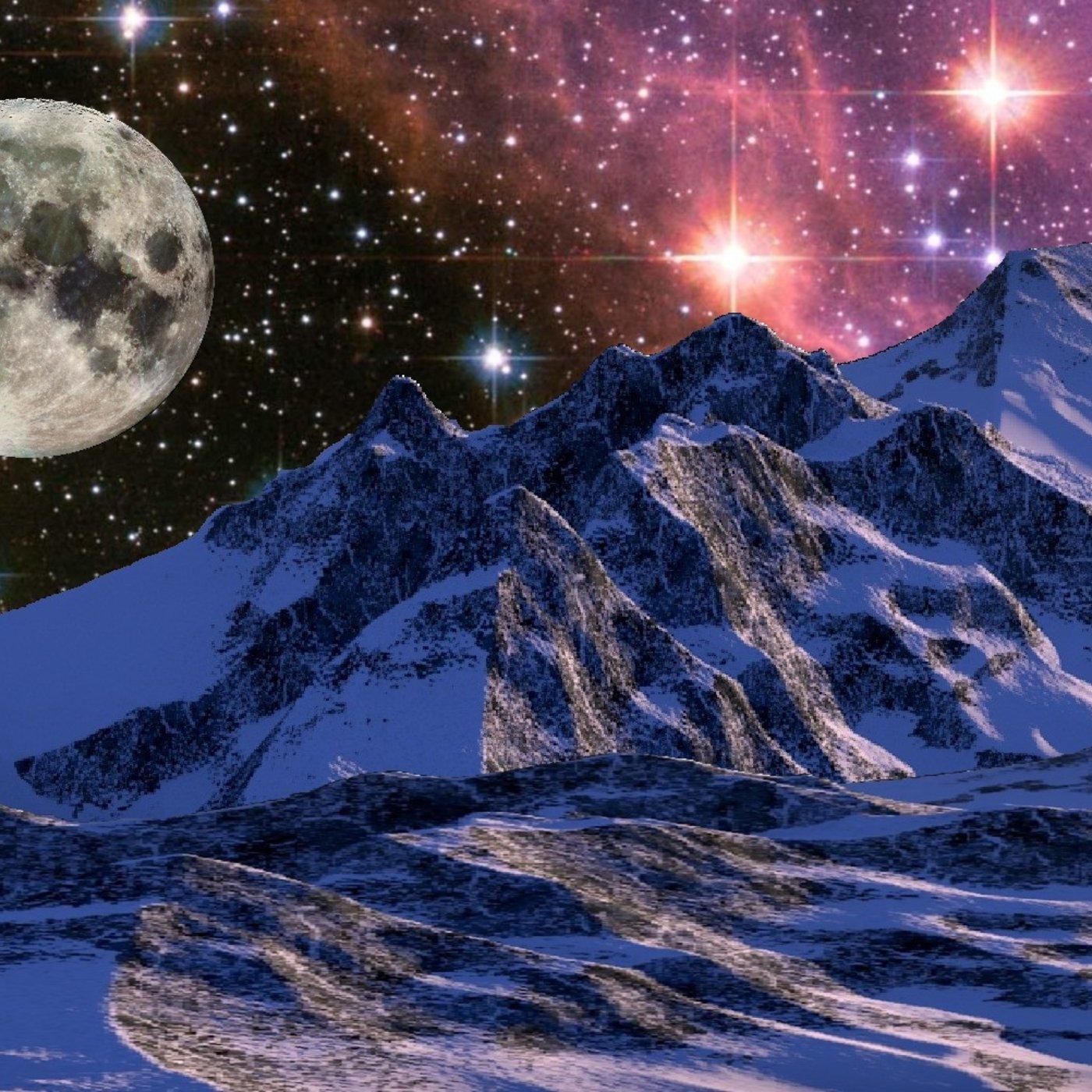 Mountain Snow, Moon and Stars