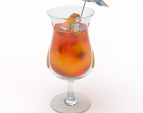 Tropical Cocktail Glass 3D