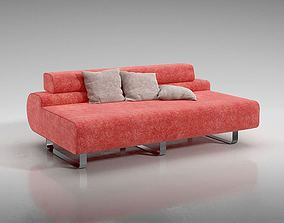 Armless Red Couch 3D