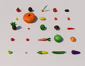3D asset Fruit and vegetables low poly pack
