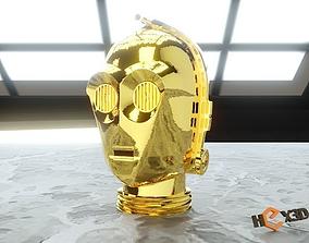 C3P0 Cosplay 3D Printable Helmet