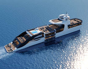 Modern luxury yacht 3D model