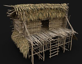 TRIBAL JUNGLE PRIMAL HUT HOUSE REED TREE SURVIVAL 3D asset