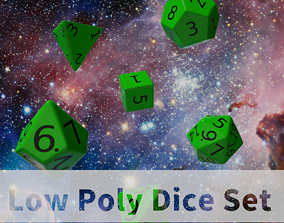 3D model Green Plastic Dice Set
