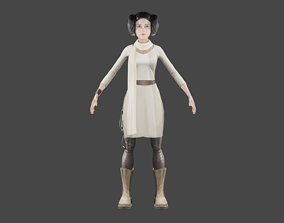 animated Female Star Wars Themed Model rigged Animated