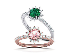 Snowflake Engagement ring 4prong 3dmodel