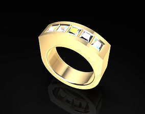 Princess Diamond Gold Ring 3D printable model