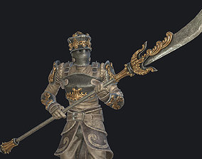 3D model Fantasy knight with halberd
