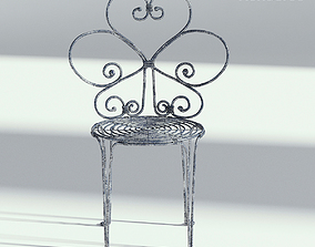 Floral Metal Bistro Chair 3D