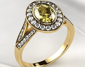 3D print model Sapphire Oval Gold Ring