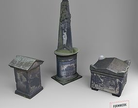 3D Scanned Tombstone Collection 01 game-ready