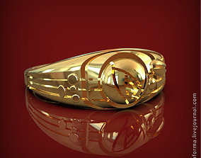 Ring with rose in art Deco style 3D printable model