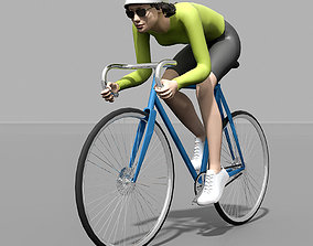 3D model race bike bicycle girl