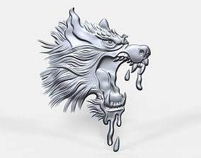 Crazy dog head bas relief 3D printable model