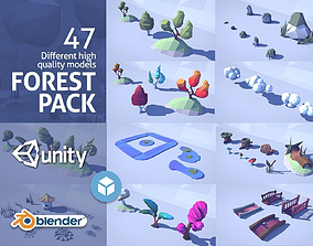 3D asset low-poly Cartoon Low Poly Forest Pack