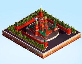Cartoon Lowpoly Kremlin Landmark 3D asset