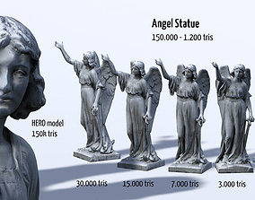 Angel Statue HD 3D model low-poly