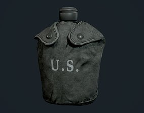 Military Canteen Bottle Equipment Gear Game Ready 3D model