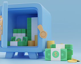 a toy safe with money 3D model