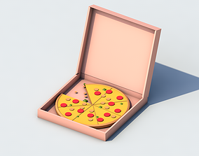 Low-poly 3d model Pizza with Box
