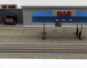 3D asset VR / AR ready Gas station jeep
