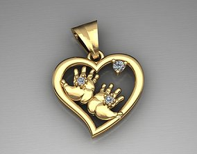 MGold015-2p Baby Hands Pendant 3D printable model
