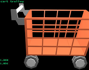 Low poly cart trolley 3D model