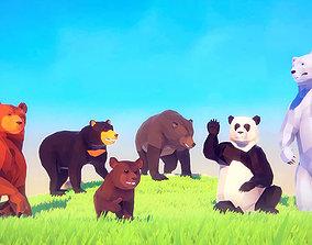 Poly Art Bears 3D asset